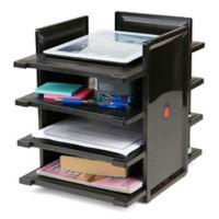 Mind Reader 4-Tier Desktop Document Tray Organizer in Black