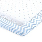 Luvable Friends® 2-Pack Chevron and Dots Fitted Playard Sheets in Blue