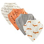Touched by Nature 4-Pack Fox Bandana Bibs in Orange