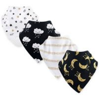 Yoga Sprout 4-Pack Moon Bandana Bib With Teether in Yellow