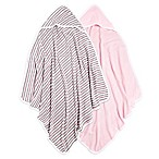 Burt's Bees Baby® 2-Pack Organic Cotton Knit Terry Hooded Towels in Pink/Stripes