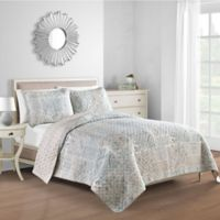 Freesia Reversible Twin Quilt in Grey