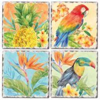CounterArt® Tropical Birds Tumbled Tile 4-Piece Coaster Set