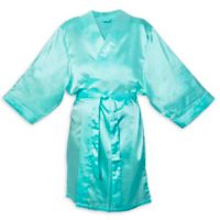 Cathy's Concepts Large/X-Large Satin Robe in Aqua
