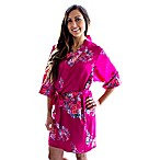 Cathy's Concepts Small/Medium Floral Satin Robe in Fuchsia