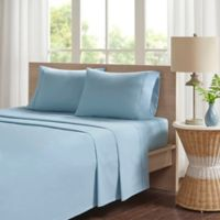 Madison Park Peached Percale Cotton Twin Sheet Set in Teal