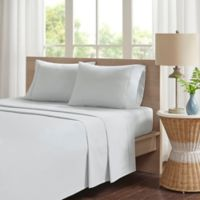 Madison Park Peached Percale Cotton Queen Sheet Set in Grey