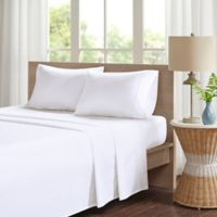 Madison Park Peached Percale Cotton Full Sheet Set in White