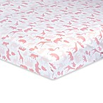 Just Born® Dream Jungle Fitted Crib Sheet in Pink/White