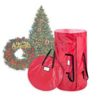 Elf Stor 2-Piece Wreath Storage Bag and Christmas Tree Storage Bag Set in Red