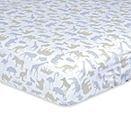 Just Born® Dream Jungle Print Fitted Crib Sheet in Taupe/White