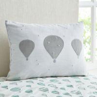 Tegan Hot Air Balloon Oblong Throw Pillow in White/Grey