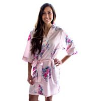 Cathy's Concepts Large/X-Large Floral Satin Robe in Pink