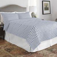 Pointehaven Elephant Full/Queen Quilt Set in Blue/White