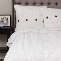 Amity Home Cable Knit King Coverlet in White