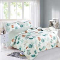 Great Bay Home Key West Reversible Full/Queen Quilt Set in White