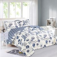 Great Bay Home Catalina Reversible Full/Queen Quilt Set in White/Blue
