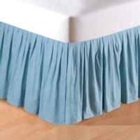 Melinda Grid Twin Bed Skirt in Aegan