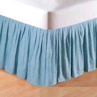 Melinda Grid Queen Bed Skirt in Aegan