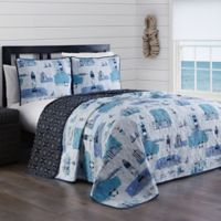 Heritage Stone Harbor Reversible King Quilt Set in Blue