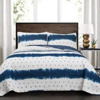 Lush Décor Jane Shibori Reversible Full/Queen Quilt Set in Navy