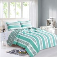Great Bay Home St. Croix Reversible Full/Queen Quilt Set in Aqua/Grey