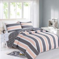 Great Bay Home St. Croix Reversible Twin Quilt Set in Coral/Grey