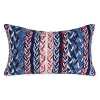 Liora Manne Visions Braided Stripe Oblong Indoor/Outdoor Throw Pillow in Navy