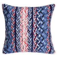 Liora Manne Visions Braided Stripe Square Indoor/Outdoor Throw Pillow in Navy