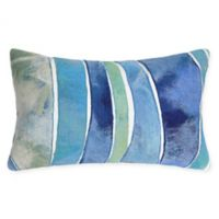 Liora Manne Visions Ocean Waves Oblong Indoor/Outdoor Throw Pillow in Blue