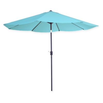 Pure Garden 10 Foot Patio Umbrella With Auto Tilt And Crank In Blue