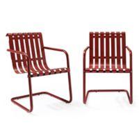 Crosley Gracie Indoor/Outdoor Chairs in Red (Set of 2)