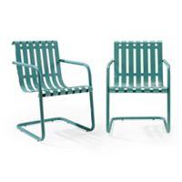 Crosley Gracie Indoor/Outdoor Chairs in Blue (Set of 2)