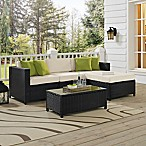 Crosley Sea Island 5-Piece Sectional Set in Black
