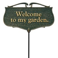 """Whitehall Products """"Welcome to my Garden"""" Outdoor Garden Sign in Green/Gold"""