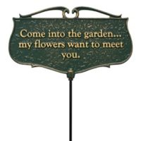 """Whitehall Products """"Come into the Garden"""" Outdoor Garden Poem Sign in Green/Gold"""