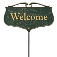 """Whitehall Products """"Welcome"""" Outdoor Garden Sign in Green/Gold"""
