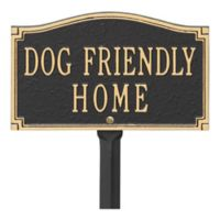"""Whitehall Products """"Dog Friendly"""" Garden Sign in Black/Gold"""