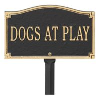 """Whitehall Products """"Dogs at Play"""" Outdoor Garden Sign in Black/Gold"""