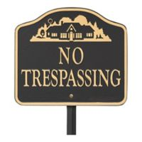 """Whitehall Products """"No Trespassing"""" Outdoor Garden Sign in Black/Gold"""