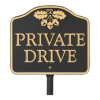 """Whitehall Products """"Private Drive"""" Outdoor Garden Sign in Black/Gold"""