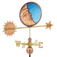 Good Directions Stained Glass Moon Weathervane in Copper