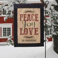 Peace, Joy, Love Burlap Garden Flag