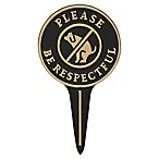 "Whitehall Products ""Please Be Respectful"" No Poop Dog Lawn Sign in Black/Gold"