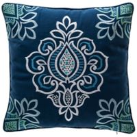 Bombay® Floral Square Indoor/Outdoor Throw Pillow with Welt in Blue