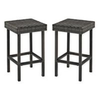 Crosley Palm Harbor Wicker Counter Stools in Grey (Set of 2)