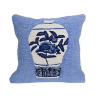 Liora Manne Frontporch Ginger Jars Square Indoor/Outdoor Throw Pillow in Blue