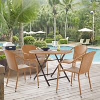 Crosley Palm Harbor 5-Piece Café Dining Set in Light Brown