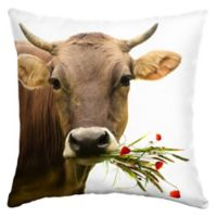 Selections by Arden Cow Bouquet Square Outdoor Throw Pillow in Tan