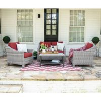 Leisure Made Marietta 4-Piece Outdoor Wicker Conversation Set in Red/Grey